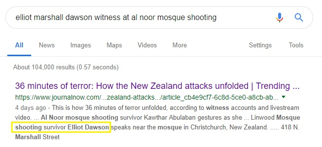Al Noor shooting survivor Elliot Dawson